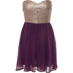 Miso Sequined Strapless Dress found on Polyvore featuring polyvore, fashion, clothing, dresses, vestidos, robes, short dresses, sequin mini dress, sexy cocktail dresses and purple sequin dress