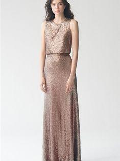 Sequins Satin ZipperJewel Ruched Sleeveless A-line Floor Length Bridesmaid / Wedding Party Dresses
