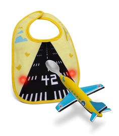 The bib is motion activated so when the plane/spoon approaches, it lights up.... so Cute!