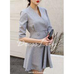 Graceful Stand Collar Half Sleeve High Waist Gary Dress For Women