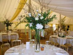 tall wedding table centre, willow, hanging candles, hydrangea, lissianthus, ruscus www.velvetbrown.co.uk