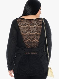 Black Divine Lace Back Long Sleeve Top   $14.50   Cheap Trendy Blouses Chic Discount Fashion for Wo