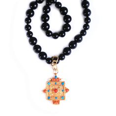 Gold Cross Pendant Necklace with Black Onyx www.meredithjackson.com