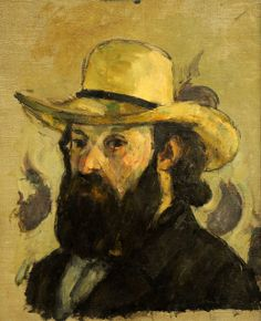 Paul Cézanne ~ Self-Portrait in a Straw Hat, 1875-76
