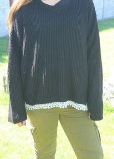 Kup mój przedmiot na #vintedpl http://www.vinted.pl/damska-odziez/swetry-z-dekoltem/13862591-sweter-czarny-z-koronka-primark