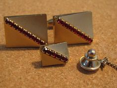 Art Deco Style Red Rhinestone Cuff Links and by ToadSuckTreasures, $25.00