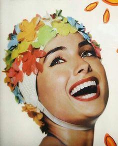 Colorful floral swim cap!