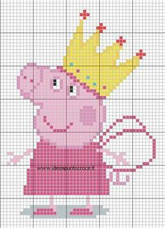 SCHEMA FATINA PEPPA PIG Bobble Stitch Crochet, Crochet Chart, Cross Stitch For Kids, Cross Stitch Baby, Melty Bead Patterns, Beading Patterns, Cross Stitch Designs, Cross Stitch Patterns, Amigurumi Patterns