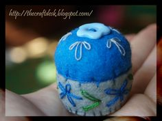 Miniature pincushion - BLUE - 100% wool felt mini cushion for pins , bottle cap ,  recycled , thecraftdesk by TheCraftDeskShop on Etsy