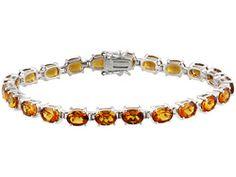16.50ctw Oval Madeira Citrine Sterling Silver Bracelet