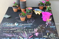 Planting station/DIY party favours for a child's party, garden party, barbeque, outside wedding...lots of ways to use this great idea!!