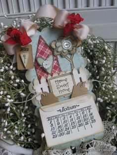 Calendar by Cherry Nelson using Vintage Calendar Stamp Set and Home Sweet Home stamp set from Purple Onion Designs.