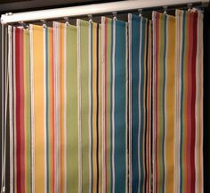Striped vertical blinds from The Stripes Company. Made to measure vertical blinds and replacement blind vanes in beautiful stripes Patio Windows, Floor To Ceiling Windows, Patio Doors, Roman Blinds, Curtains With Blinds, Beautiful Blinds, Dining Room Design, Dining Rooms, Roller Blinds