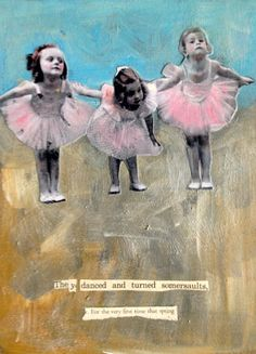 vintage girls ballerinas  original acrylic  mixed media on canvas by MaudstarrArt aka Canadian artist heather Murray