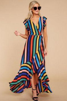 25 fashion rainbow stripe v neck beach dress 18 Fall Dresses, Cotton Dresses, Casual Dresses, Summer Dresses, Dresses Dresses, Boho Dress, Dress Skirt, Wrap Dress, Dress Outfits