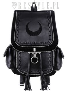 Made of solid black denim (100% cotton). The main flap is adorned with crescent moon embroidery and metal lock. Crescent Moon Black. Under the flap is huge pocket. Under the flap there is strong leather puller with tessels on the end. | eBay!