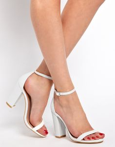 simple white heels- chunky or thin white shoes. Cannot decide