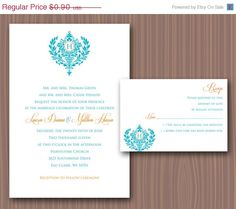 Royal Bliss Wedding Invitation on Etsy, $0.60