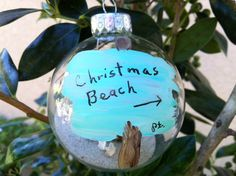 Hand Painted Christmas Beach Ornaments with sand from Florida and Caribbean.
