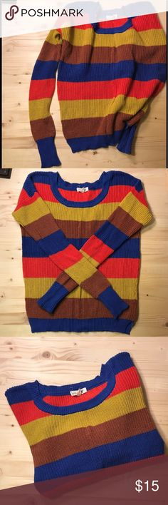 Mine | Colorful Striped Sweater • Mine colorful striped sweater • 100% cotton • comfy and cozy • only worn once • perfect condition with no rips/snags or stains • smoke-free home • offers welcome Mine Sweaters Crew & Scoop Necks