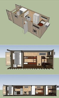 Shipping container design for Guest House Shipping Container Buildings, Shipping Container Home Designs, Container House Plans, Container House Design, Shipping Containers, Container Conversions, Container Architecture, Prefab, Floor Plans