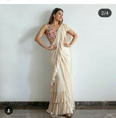 Everything that's New in Bridal Outfits Today: Furs, Feathers, Fringes, Ruffles Drape Sarees, Saree Draping Styles, Saree Styles, Trendy Sarees, Stylish Sarees, Indian Dresses, Indian Outfits, Western Dresses, Off White Saree