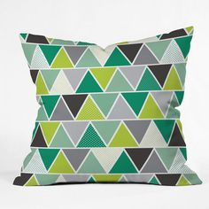 DENY Designs Home Accessories | Heather Dutton Emerald Triangulum Outdoor Throw Pillow on Wanelo