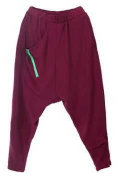 Casual Style Wine Red Harem Pants    $77.99  romwe.com  #romwe