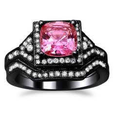 2.05ct Pink Sapphire Diamond Engagement Ring Bridal Set 14k Black Gold with a 1.25ct Center Sapphire and .80ct of Surrounding Diamonds Front Jewelers,http://www.amazon.com/dp/B00CD7JYS2/ref=cm_sw_r_pi_dp_9ltOrb6B409848B5