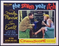"""""""The Seven Year Itch"""" - starring Marilyn Monroe and Tom Ewell. Original vintage US lobby card. Card #2 of 8. 1955."""