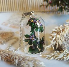 miniature tree glass terrarium pendant,purple flower necklace,flower buds necklace,real flower pendant,botanical pendant,nature jewelry by CoraIreland on Etsy