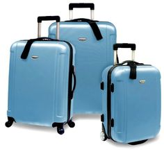 Travelers Choice Freedom 3 Piece Lightweight Hard-Shell Spinning Rolling Luggage Set, Arctic Blue, Large. Read more at http://www.zone355.com/travelers-choice-freedom-3-piece-lightweight-hard-shell-spinning-rolling-luggage-set-arctic-blue-large/