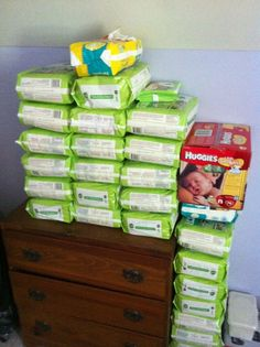 Stock up while pregnant using coupons and   sales. Good estimate on how many packs you could use in the first year and in   which sizes, and what price you should aim to pay per diaper.
