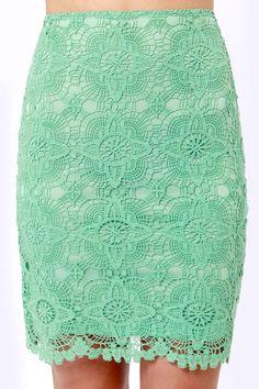 Cute Mint Skirt - Lace Skirt - Pencil Skirt - $39.00