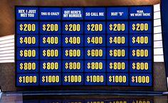 A very, very witty Jeopardy board.