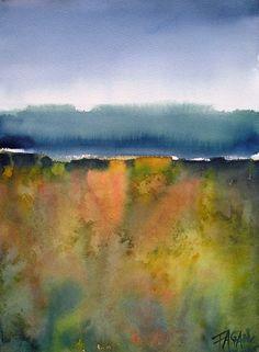 watercolor abstract Fagan original landscape by faganstudio, $125.00
