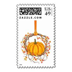 Holiday Wreath With Pumpkin Postage