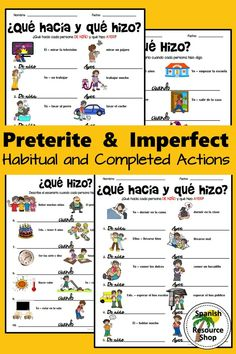 These visual worksheets help students to SEE the difference when they practice the preterite and the imperfect! Spanish Grammar, Spanish Teacher, Spanish Classroom, Teaching French, Teaching Spanish, Imperfect Spanish, Preterite Spanish, Middle School Spanish, Spanish Lesson Plans