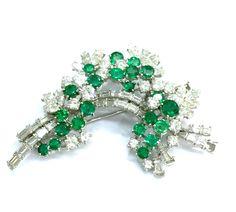 Emeralds and diamonds antique spray brooch
