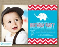 First Birthday invitation  Elephant Birthday by EllisonReed