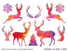 Abstract geometric Christmas clip art set, Christmas tree, deers and antlers with polygon pattern, digital clip art for printable Christmas cards,