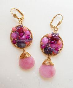 Magnificent gemstone chandelier earrings pink statement