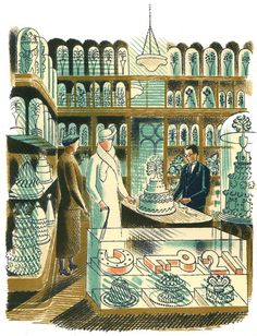 """""""Wedding Cakes by Eric Ravilious 1938 (Private Collection). The wedding cake department at Buzzards, the famous cake-makers in Oxford Street. Published in J. Richards and Eric Ravilious 'High Street'. Art And Illustration, Wedding Cake Illustrations, Book Illustrations, English Artists, British Artists, Wood Engraving, Limited Edition Prints, Oeuvre D'art, Les Oeuvres"""