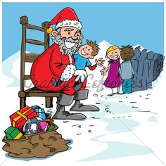 Cartoon Santa with a white beard. A long line of kids to see him Christmas Cartoon Pictures, Christmas Cartoons, Cartoon Pics, Santa, Family Guy, Guys, Fictional Characters, Fantasy Characters, Sons