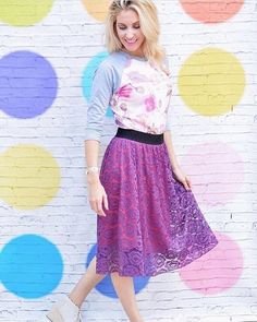 So fun and so colorful with her Floral Randy T and a lace Lola Skirt! Love it! #LuLaRoerandyt #lularoelola PC: @lularoeashleygeorge