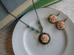 Vintage Inspired Flower Necklace Dusty by AccessoryAveBoutique