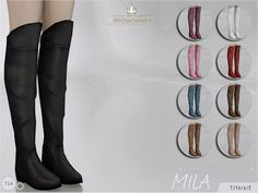 Madlen Mila Boots for The Sims 4 by MJ95 DOWNLOAD New high boots for your sim! Come in 9 colours (leather texture). Joints are perfectly assigned. All LODs are replaced with new ones.This item is part of a Christmas collection done in collaboration with Missfortunesims. Check the rest of the collection at her TSR or Tumblr page. Warning: These shoes are not compatible with some pants, but they should work fine with skinny/painted jeans. You …