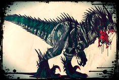 The Carnage Monarch is a genuine killer.It has many types of animal DNA within it's blood including the mighty indominus rex,t-rex ,titanoboa,carnotauru. Jurassic World Dinosaurs, Jurassic Park, Underwater Swimming, Fantasy Demon, Indominus Rex, Monster Hunter World, Types Of Animals, Dinosaur Art, Xenomorph