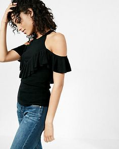 Ruffle Cold Shoulder Sweater Black Women's X Large College Outfits, Concert Outfits, Blouses For Women, T Shirts For Women, Cold Shoulder Sweater, Shirt Blouses, My Style, Sweaters, Clothes