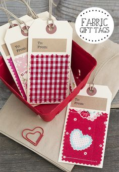 Super cute handmade fabric gift tags!  Personalize them for every holiday too. Great Gift wrapping idea.